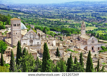medieval town of Assisi, Umbria , Italy  - stock photo