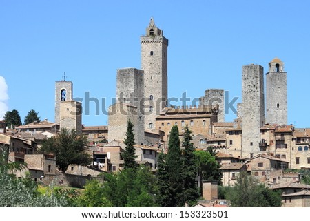 Medieval town of San Gimignano in Tuscany, Italy - stock photo