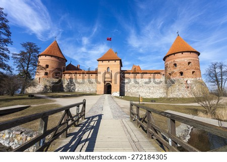 Medieval Trakai Island Castle. One of the most popular touristic destinations in Lithuania - stock photo