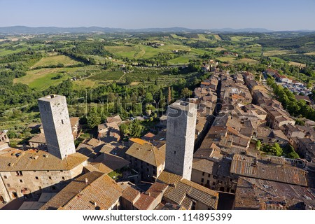 Medieval Tuscany San Gimignano Chianti Italy - stock photo