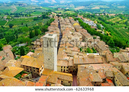 medieval Tuscany town - San Gimignano - stock photo
