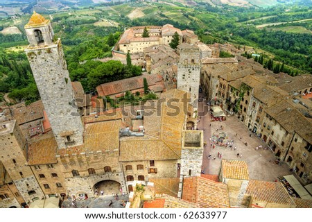 medieval Tuscany town - San Gimignano- top view - stock photo