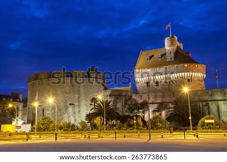 Medieval walls and towers of Saint Malo in the evening, Brittany, France - stock photo