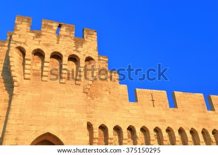 Medieval walls defending the old town of Avignon, Provence, France - stock photo