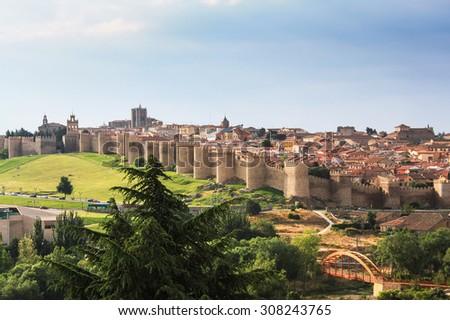 Medieval walls of Avila, Spain. - stock photo