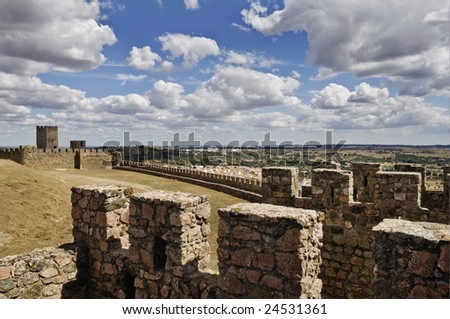 Medieval walls of the castle of Arraiolos, Alentejo, Portugal