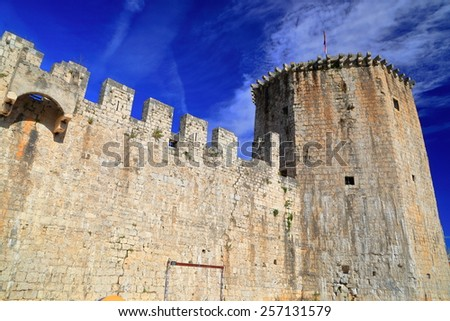 Medieval walls of the fortress defending Venetian old town of Trogir, Croatia - stock photo