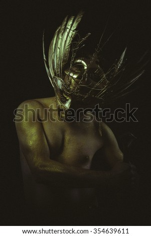 medieval, warrior helmet and gold feathers, giant iron sword - stock photo