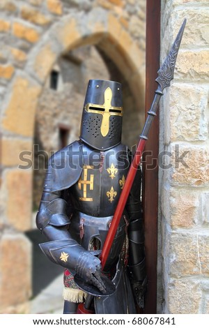 Medieval warrior soldier metal protective wear swordsman - stock photo