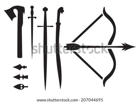 medieval weapon icons - stock photo