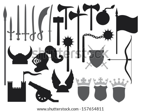medieval weapons icons (tower, gaul helmet, medieval knight helmet, ancient cannon, swords, katana sword, old bomb, battle ax, hammer, flag, crown, coat of arms, shield, saber, medieval flail) - stock photo