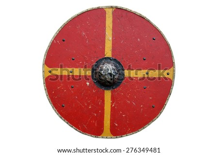 Medieval Wood, Iron & leather, round Shield - stock photo