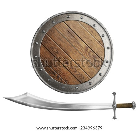 medieval wooden shield and sword or saber isolated - stock photo