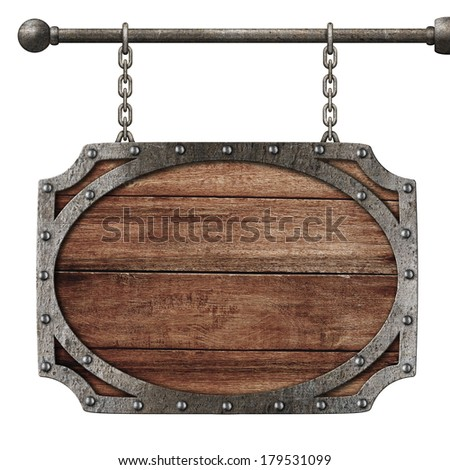 medieval wooden sign hanging on chains isolated on white - stock photo
