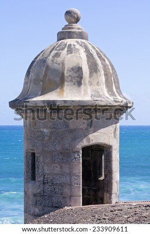 Medievel stone bartizan or garita on corner of Castillo de San Cristobal overlooking the Atlantic Ocean in Old San Juan, Puerto Rico - stock photo