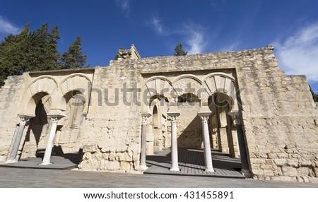 MEDINA AZAHARA, SPAIN - September  11, 2015: Detail of the entrance to the Upper Basilica Hall at Medina Azahara medieval palace-city near Cordoba, on September  11, 2015 in Medina Azahara, Spain - stock photo