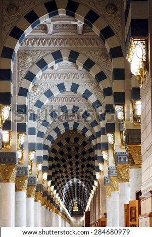 MEDINA, SAUDI ARABIA-CIRCA MAY 2015: Interior of Masjid (mosque) Nabawi on MAY, 2015 in Medina, Saudi Arabia. The Mosque is the 2nd holiest mosque in Islam.