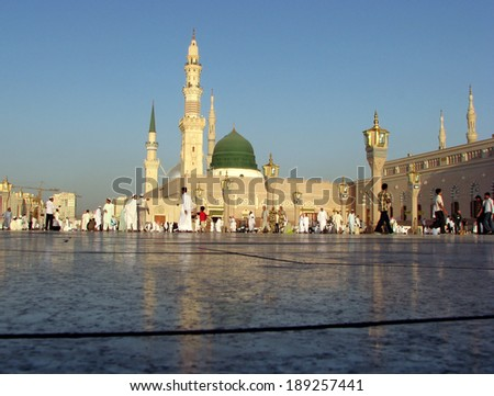 MEDINA, SAUDI ARABIA (KSA) - OCTOBER 8: Muslims get ready to pray around Nabawi Mosque October 8, 2007 in Medina, KSA. Muslims from all over the world visit this place would do. - stock photo