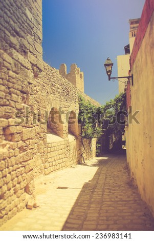 Medina. Typical arabic streets and buildings. Tunisia. Filtered image:cross processed vintage effect.  - stock photo