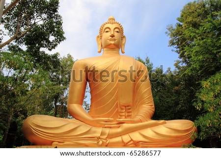 meditating bronze statue Buddha, image - stock photo