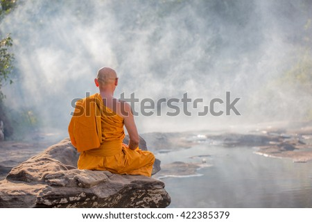 Meditating monks in the forest - stock photo