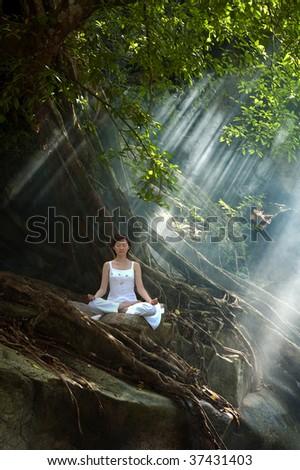 Meditation, Ananda Yoga - stock photo