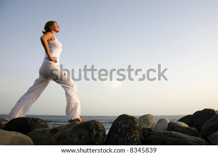 Meditation at dawn - stock photo