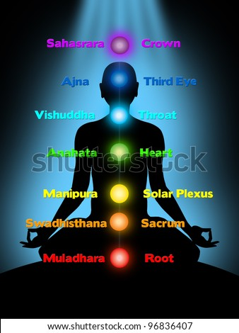 meditation, chakras - stock photo