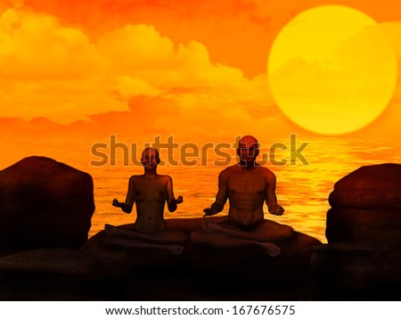Meditation 3d Man and woman - stock photo