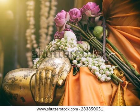 meditation gold buddha statue - stock photo