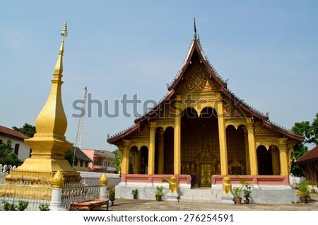 meditation hall of Wat Senesukaram Buddhist temple in Luang Prabang, Lao - stock photo