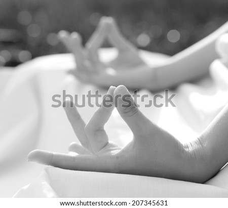 meditation in nature , B&W , black and white - stock photo