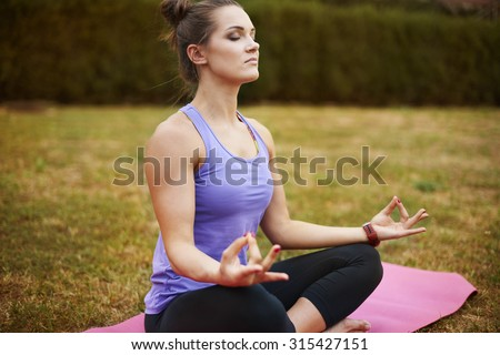 Meditation makes me feel relaxed - stock photo