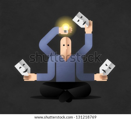 Meditation. Many armed cartoon man in lotus position, holding masks and lightbulb. Comic illustration on the theme of Generating New Ideas - stock photo