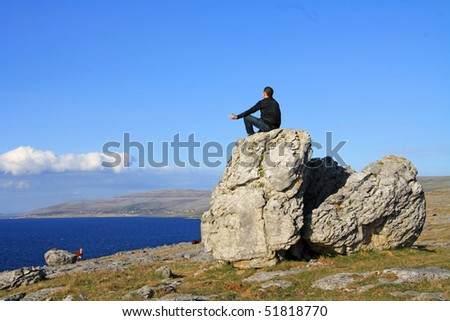 Meditation on irish coast - stock photo
