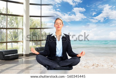 Meditation. Relaxing business woman on the beach - stock photo