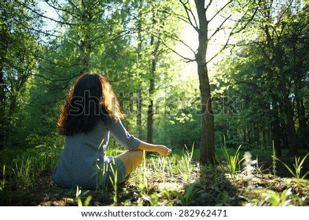 Meditation spring summer woman - stock photo