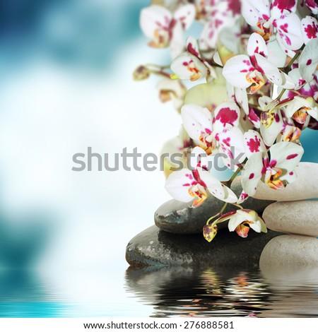 meditation with burning candle - stock photo