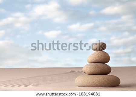 Meditation zen garden harmony relaxation and balance concentration as a ritual in Japanese culture - stock photo