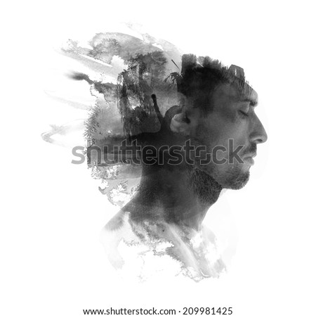 Meditative portrait of attractive man combined with watercolor drawing - stock photo