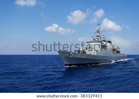 MEDITERRAN SEA / LEBANON - NOVEMBER 2015: warship drives in mediterran sea / lebanon at november 2015.