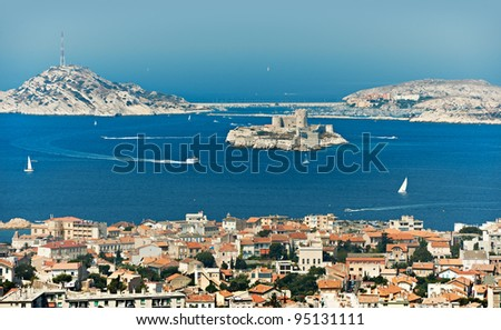 Mediterranean bay of Marseille city with If castle and blue sea water - stock photo
