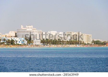 Mediterranean beach resort in Tunisia - stock photo