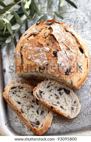 Mediterranean Black Olive Bread - stock photo