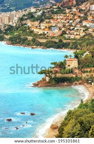 Mediterranean coast by Monaco, France - stock photo