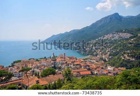 Mediterranean coast line south of Naples, Italy - stock photo