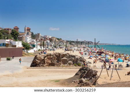 Mediterranean coastal beach, Mongat village - stock photo