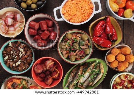 Mediterranean cold buffet food known as tapas, antipasto or meze