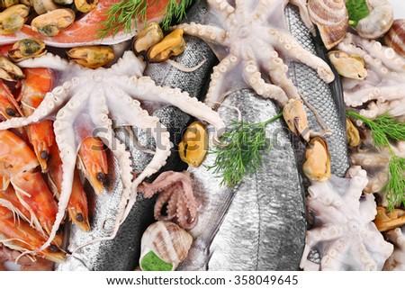Mediterranean fish cocktail background, close up - stock photo