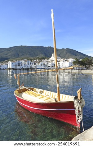 Mediterranean fishing boat. Cadaques in Costa Brava of Catalonia, Spain. - stock photo